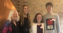 Our 3 Tom Schneider Peace Maker Award winners from left to right Becky Schawrz (Tom Schneider's wife), Reilly Farr (Waverly Highschool), Eleanor Carr (East Lansing High School), Graham Diedrich(Haslett High School)