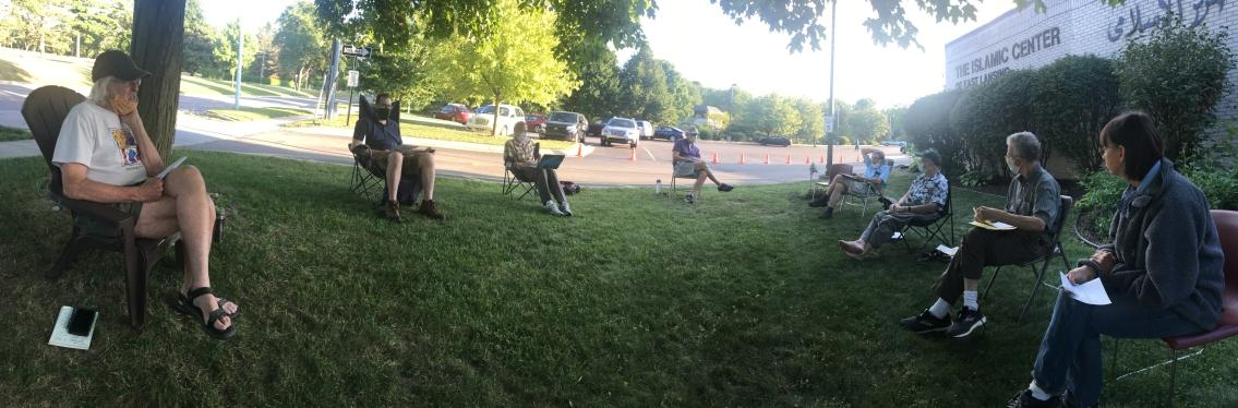 Pandemic era PEC meeting - outdoors, with social distancing